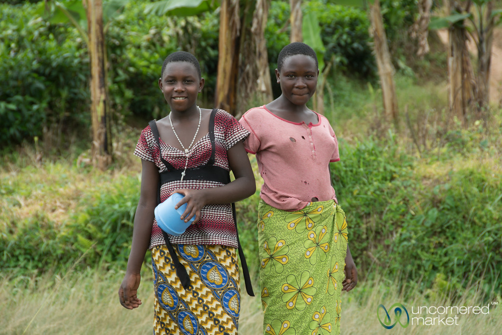 Friendly Women on the Road Near Kalinzu Forest Reserve - Western Uganda