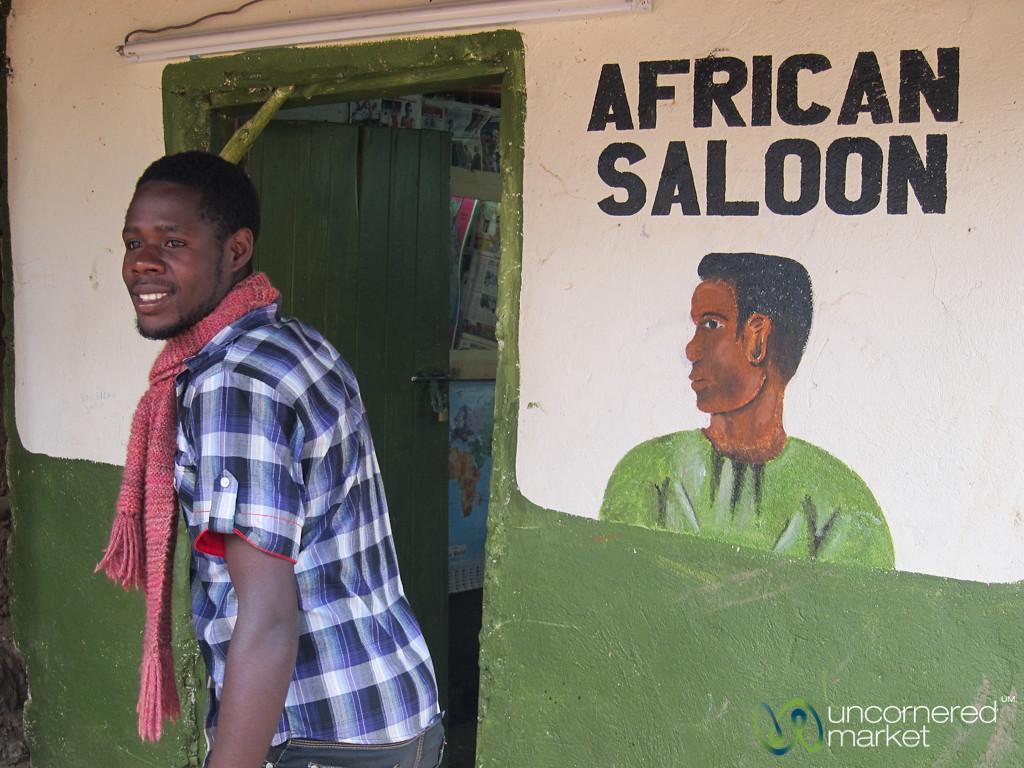 Barber at the African Saloon - Lake Bunyonyi, Uganda