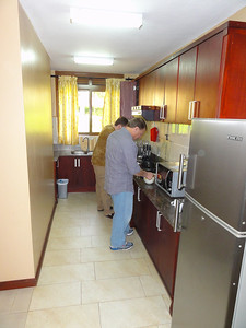 Jaca Residence where we stayed at in Kampala.  Ed & Jeff fixing breakfast.