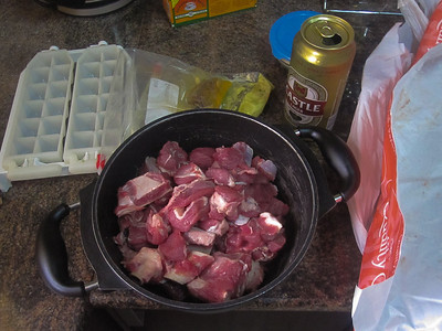 Goat meat for the goat curry.