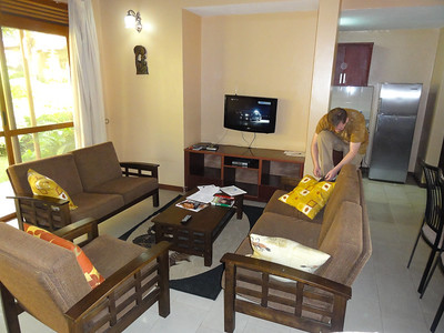 Jaca Residence where we stayed at in Kampala.  Living room with cable TV.
