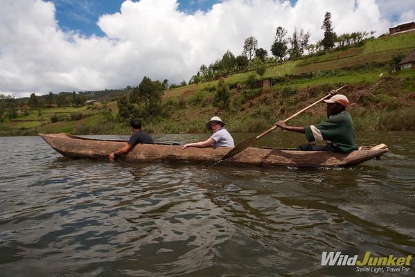 Wooden dugout canoe