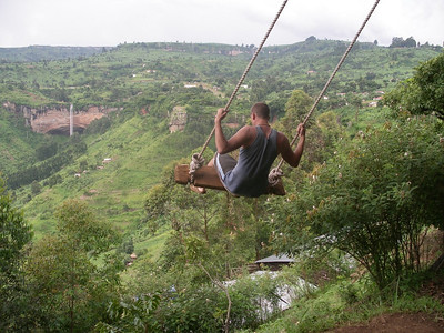 paul swinging near sipi falls