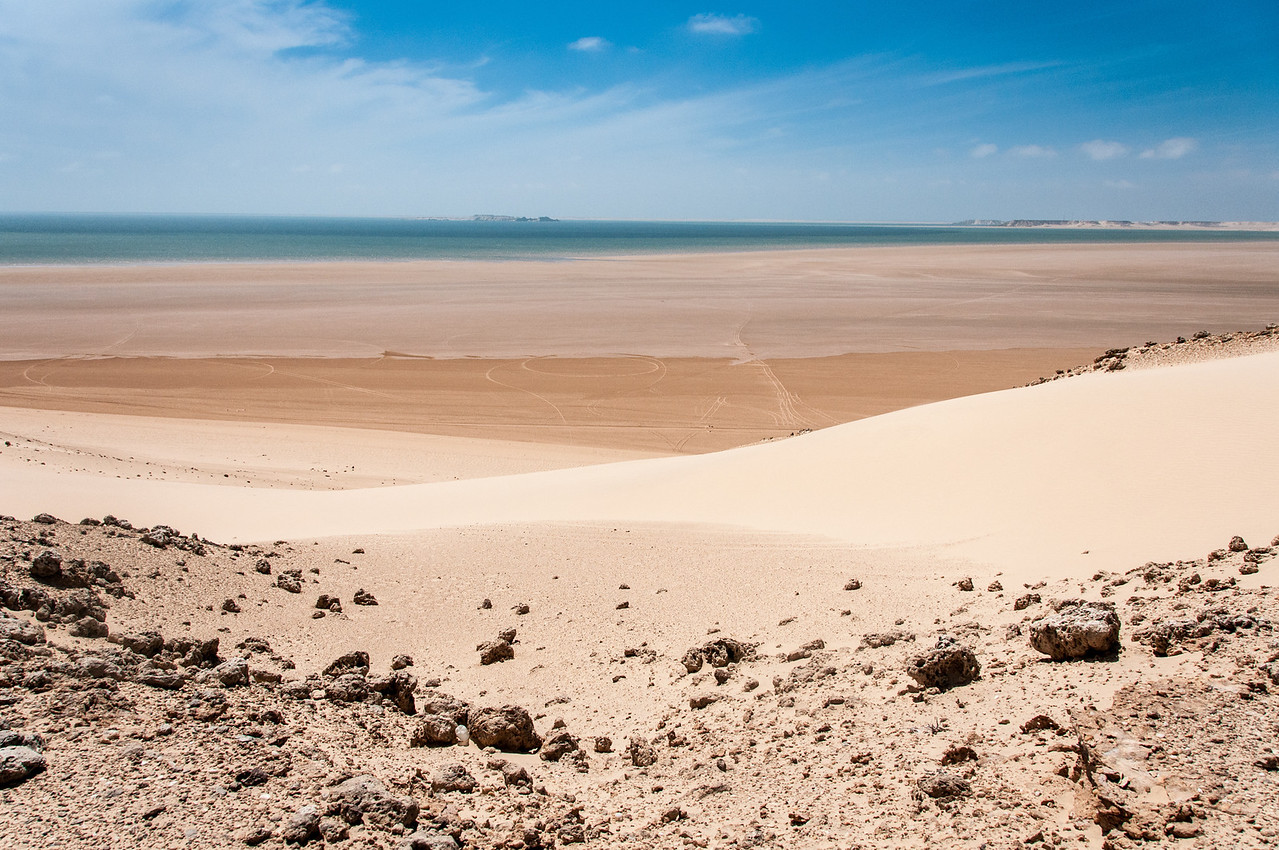 Panorama of desert in Dakhla, Western Sahara
