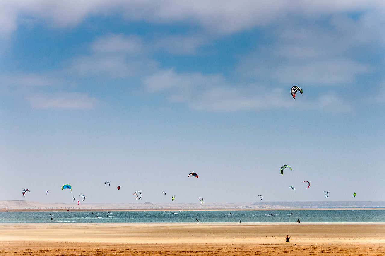 Kite surfer in Dakhla, Western Sahara