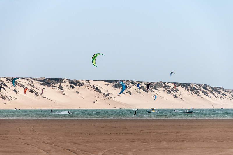 Kite surfers in Dakhla, Western Sahara