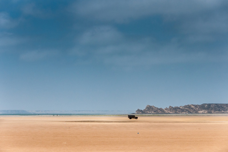 Driving through the desert in Dakhla, Western Sahara