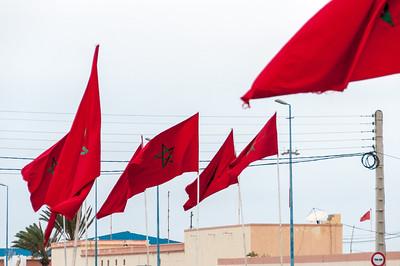 Moroccan flag waving in Dakhla, Western Sahara