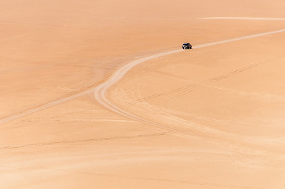 Driving in the desert in Dakhla, Western Sahara