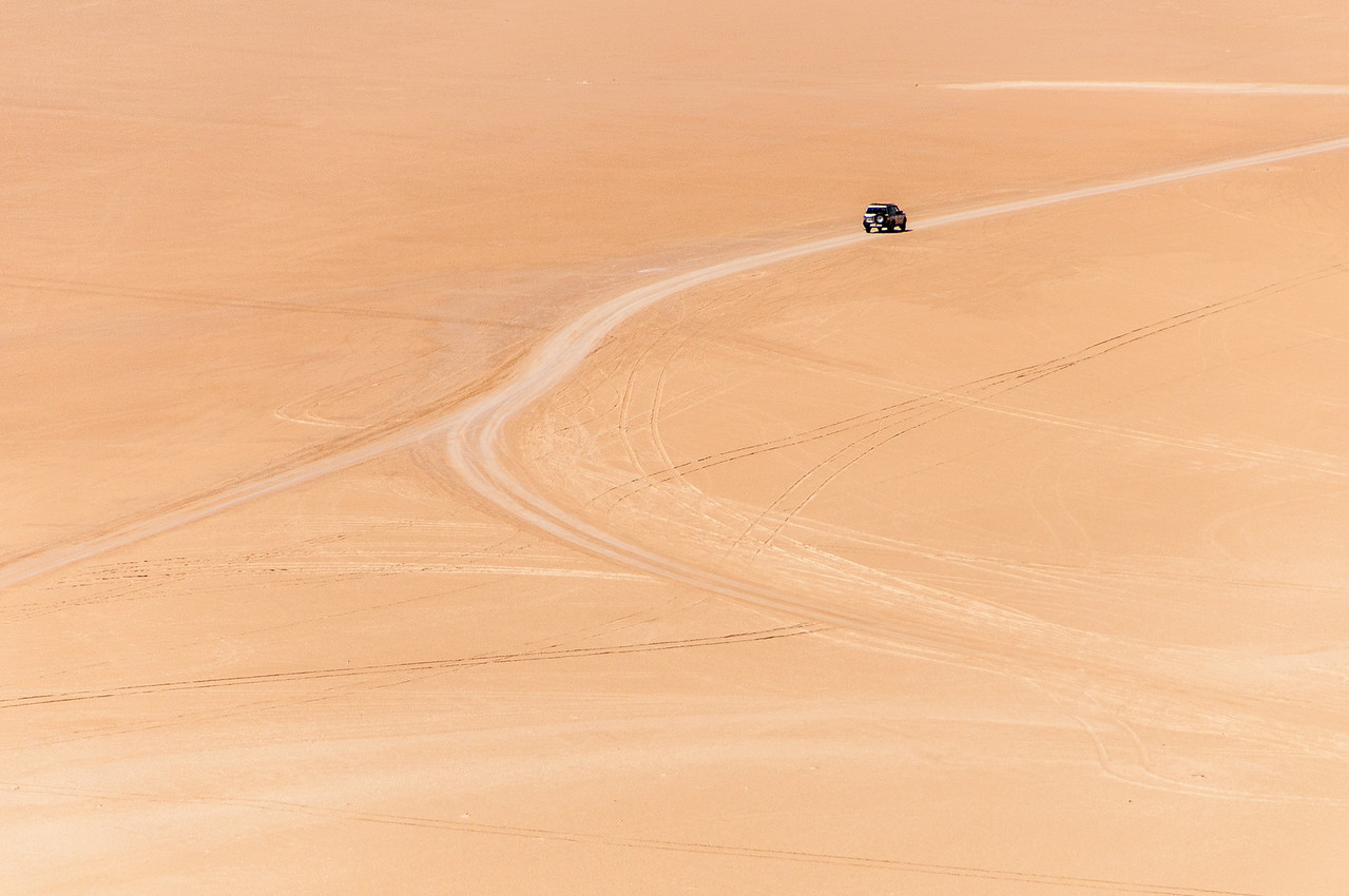 Driving in the desert in Dakhla, Western Sahara