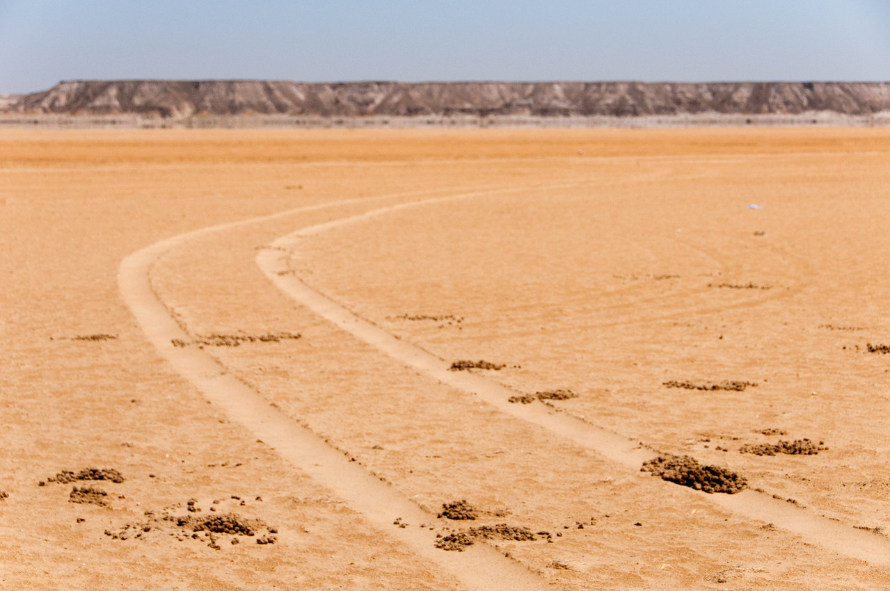 Wheel marks in the desert of Dakhla, Western Sahara