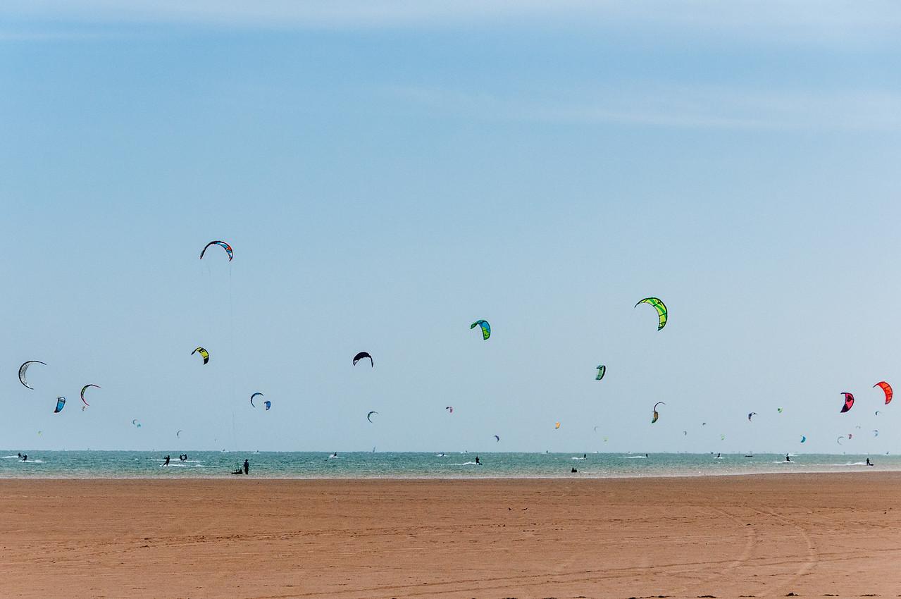 Kite surfers in Dakhla, Western Sahara