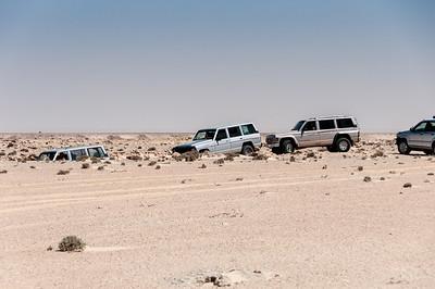 Driving through the desert in Dakhla, Western Sahara