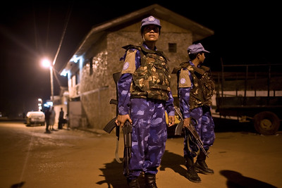 MONROVIA - LIBERIA , FEBRUARY 8 2007 :On patrol in Monrovia.   All female Peacekeeping police force from India are part of the UN's Form Police Unit which provides backup on patrol for local unarmed Liberian National Police .  (Photos by : Christopher Herwig )
