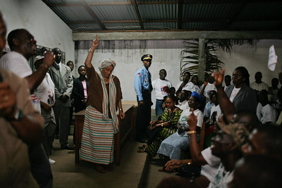 (Assignment Images - Embargoed for Focus - Park Avenue) Monrovia, Liberia, on  Tuesday, January 16, 2007,Supporters gather at the Unity Party headquarters to celebrate the one year anniversary of Liberian President Ellen Johnson-Sirleaf coming to power and becoming the first elected Female head of state in Africa.
