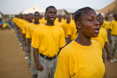Morning exercises at Liberian National police boot camp