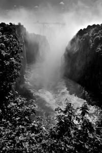 Victoria Falls, Zambia in Black and White
