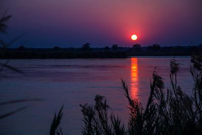 Lower Zambezi River, Zambia Sunrise over the lower Zambezi River.