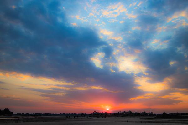 Soft sunset and elephants. S Luangwa National Park