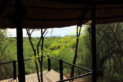 View of Vic Falls Spray from my chalet.