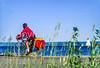Touring cyclist on Cabot Trail, Cape Breton Island in Nova Scotia, Canada - 4 - 72 ppi