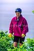 Touring cyclist on Cabot Trail, Cape Breton Island in Nova Scotia, Canada - 7 - 72 ppi