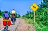 Touring cyclist on Cabot Trail, Cape Breton Island in Nova Scotia, Canada - 28-2 - 72 ppi