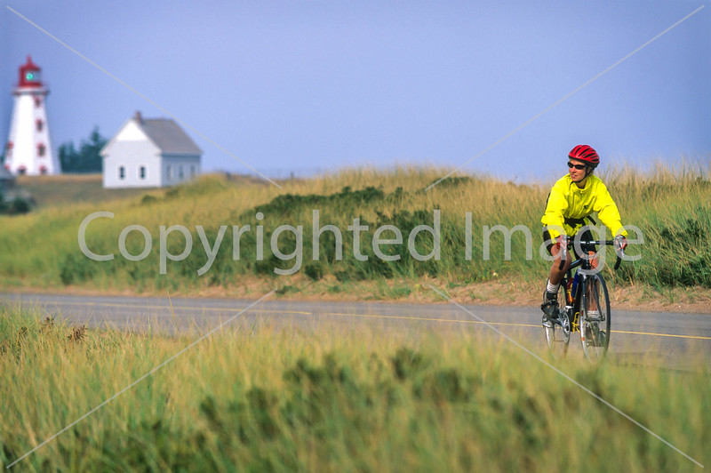 Cyclist at Panmure Island Provincial Park, Prince Edward Island, Canada - 2 - 72 ppi