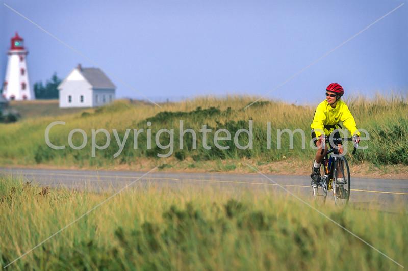 Cyclist at Panmure Island Provincial Park, Prince Edward Island, Canada - 2 - 72 ppi