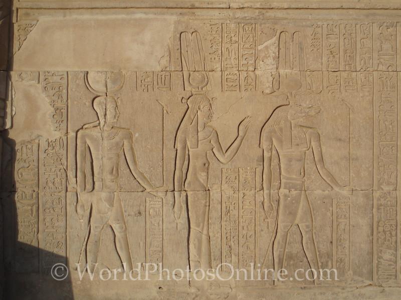 Kom Ombo Temple - Relief of Haroeris, Isis, & Sobek