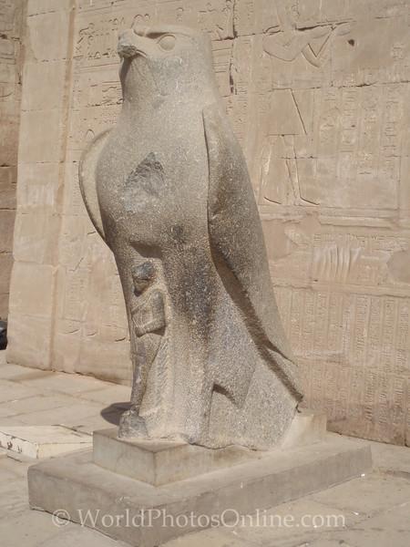 Edfu - Temple of Horus - Falcon Statue at Main Pylon