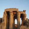 Kom Ombo Temple - Moon rising over Hypostyle Hall