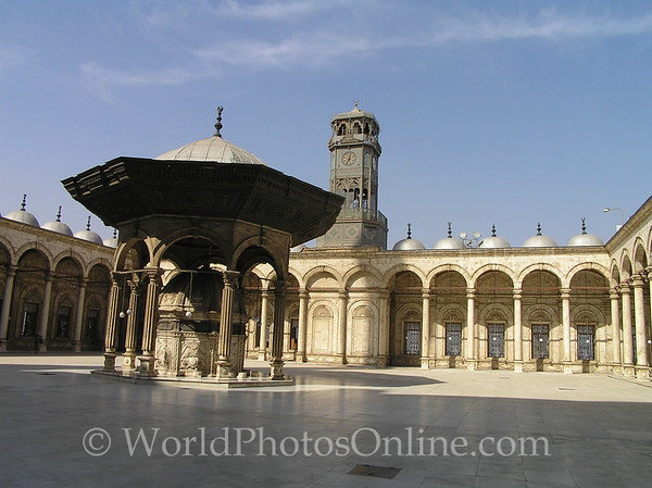 Cairo - Citadel - Mosque of Mohammed Ali - Fountain Courtyard and Clock