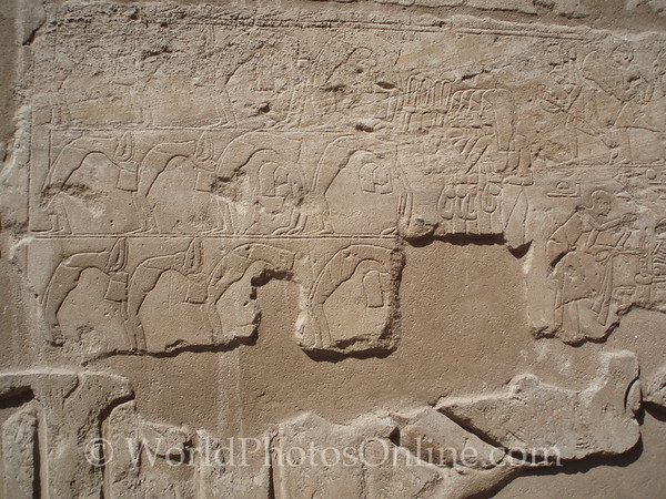 Luxor Temple - Hieroglyph of Acrobats and Musicians celebrating the Opet Festival.
