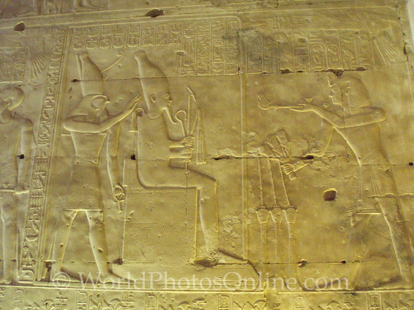 Abydos - Relief of Seti I giving offering to Osiris
