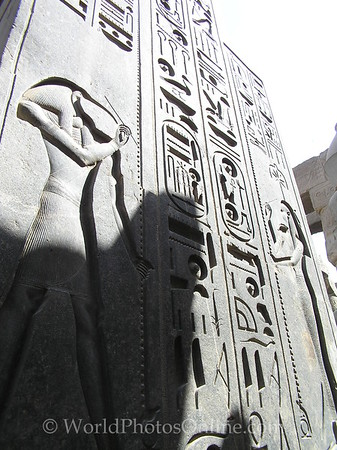 Luxor Temple - Back of Statue - Hieroglyph of Thoth and Seshat.