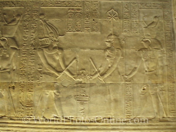 Edfu - Temple of Horus - Relief of Goddess of Architecture setting the temple's foundation