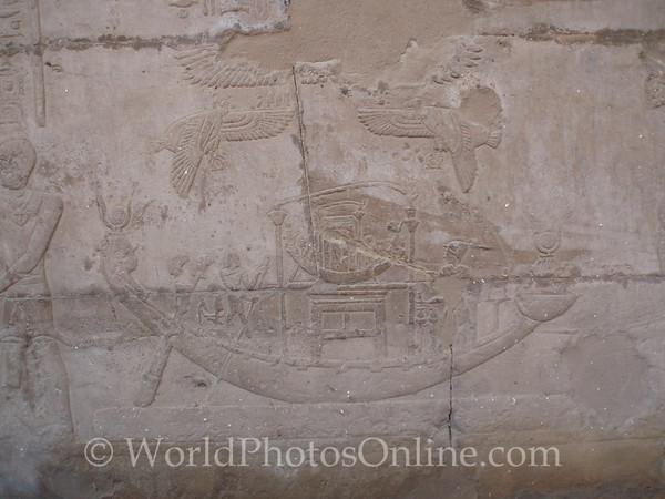 Edfu - Temple of Horus - Relief of Hathor traveling toHorus