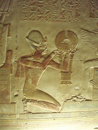 Abydos - Relief of Seti I giving Neckless to Osiris
