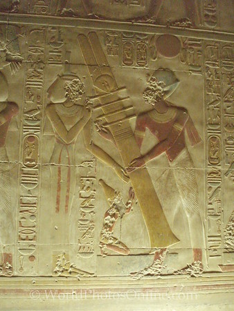 Abydos - Relief of Isis and Horus 'reassembling' Osiris