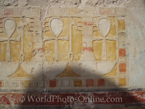 Luxor - Temple of Hatshepsut - Hathor Chapel - Relief of Ankhs