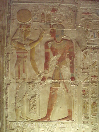 Abydos - Relief of Hathor 'opening the mouth' of Seti I.