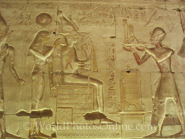 Abydos - Relief of Ramses III giving offering to Osiris