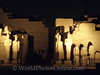 Karnak - Statues at Cachette Court at night