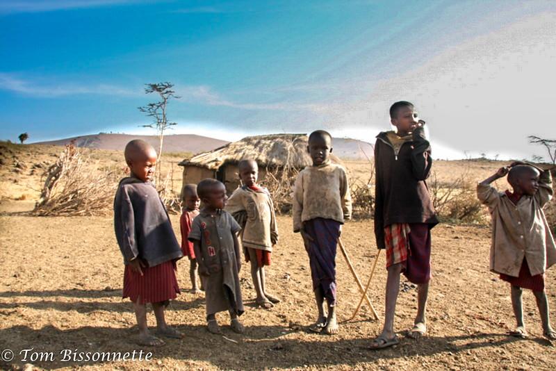 Massai children interested in the visitors.