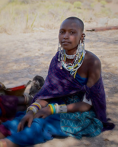 Masai Woman in Traditional Dress in Tanzania