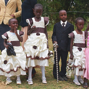 The trip from Nairobi to Arusha, Tanzania, July 2012. Children Dressed up for Church along the road