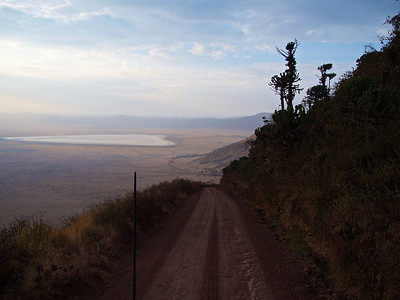 The view from the single road down into the the Ngorongoro Conservation Area-Tanzania,  The rim is over 7000 feet.