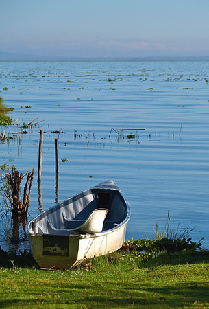 En stille morgen, en båt klar til bruk på Naivasha-sjøen, oktober 2007. *** A quite morning, a boat by the lake. Lake Naivasha, October 2007 (Foto: Geir)