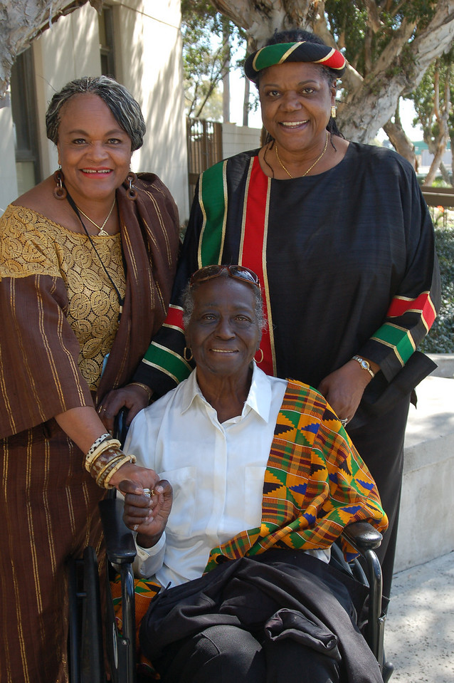 The Queens:  Patsy Jo Hilliard, ex-mayor of East Point Georgia, is the wife of the late Dr. Asa Hillard.  To her right is Nzingha Ratibisha Heru and seated is Lillian Mobley, Queen Mother of Los Angeles politics concerning African Americans.  Photo copyright Kwaku Person-Lynn, PhD